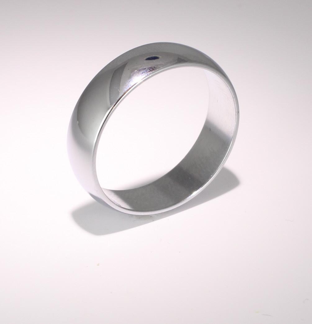 D Shape  Medium Weight -  6mm (WBDS6PAL) Palladium Wedding Ring