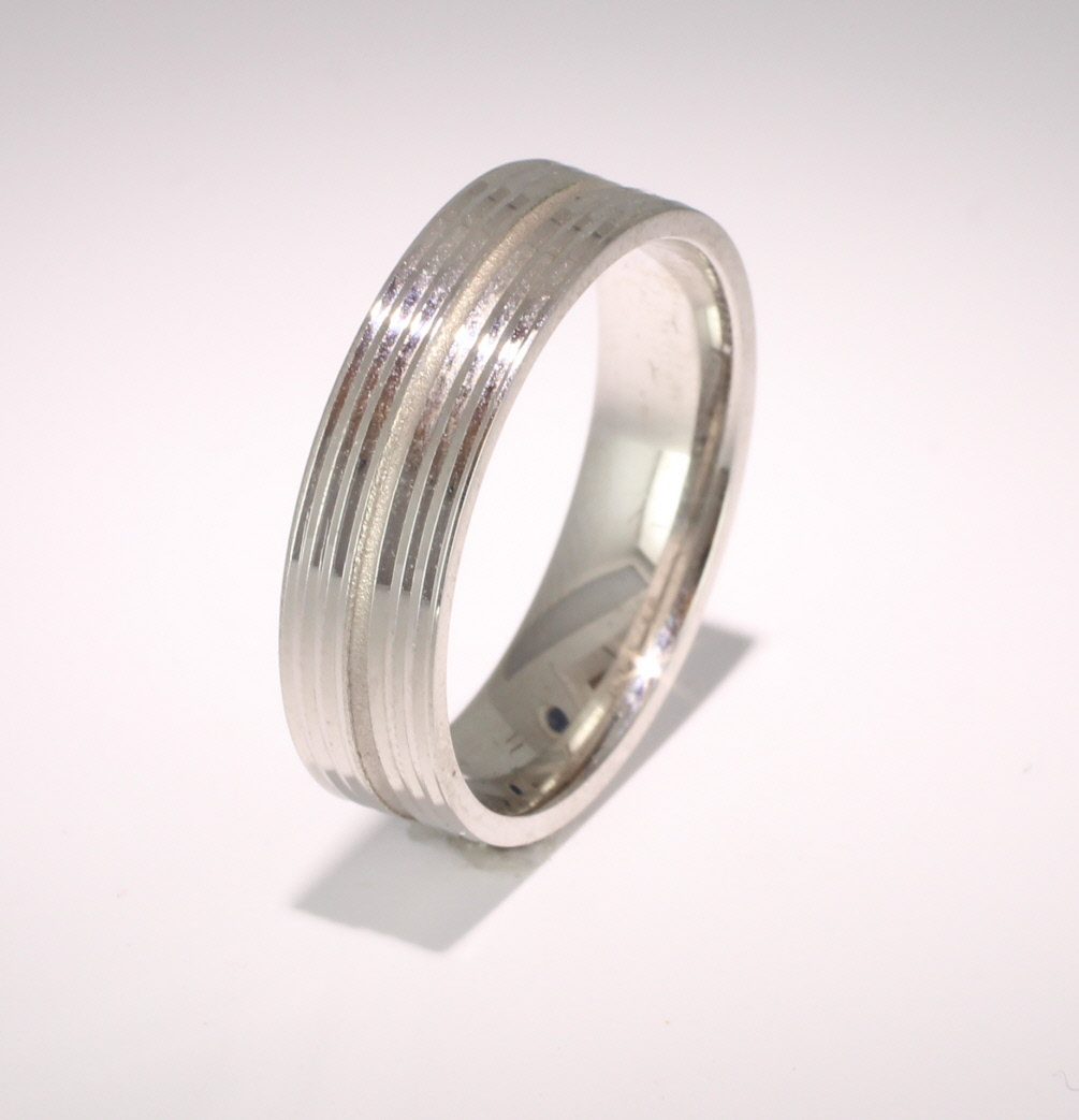 Patterned Designer Palladium Wedding Ring Orbite