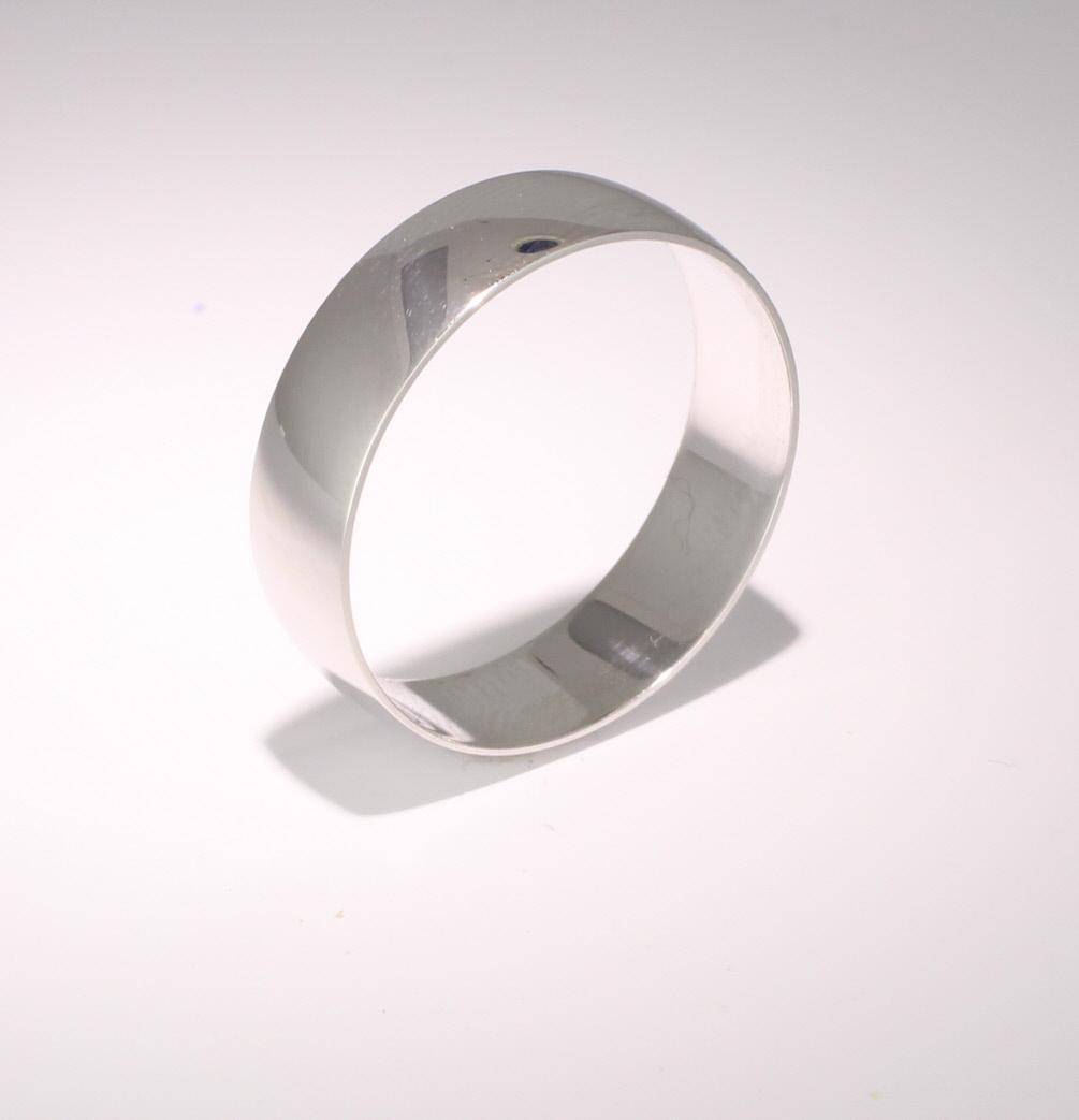 D Shape Light - 6mm (LD6 W) White Gold Wedding Ring