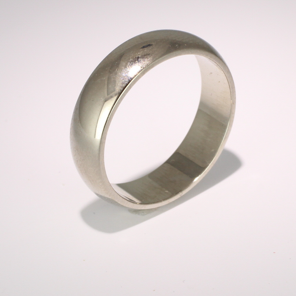 D Shaped Heavy - 6mm (DSH6-W) White Gold Wedding Ring