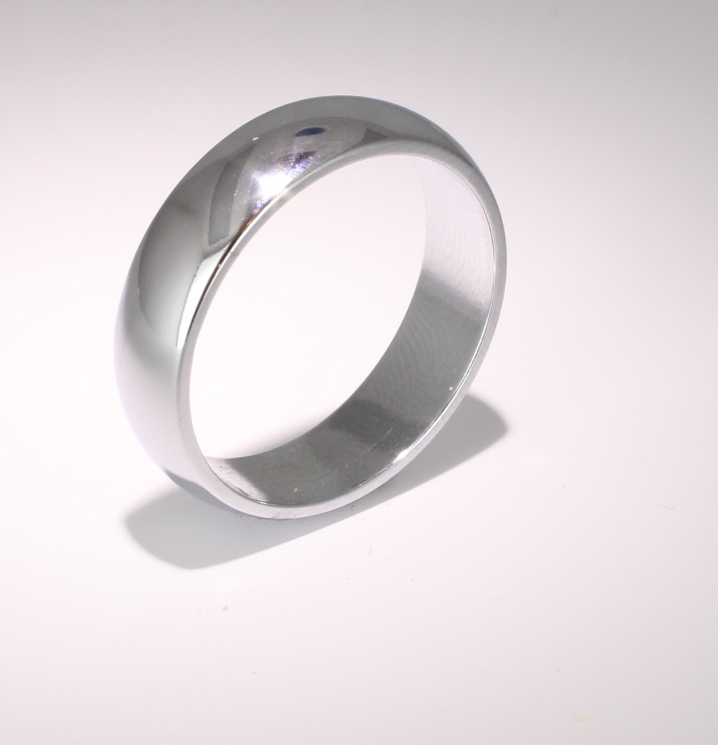 D Shaped Platinum 6mm Heavy Wedding Ring (Plat or Pall)