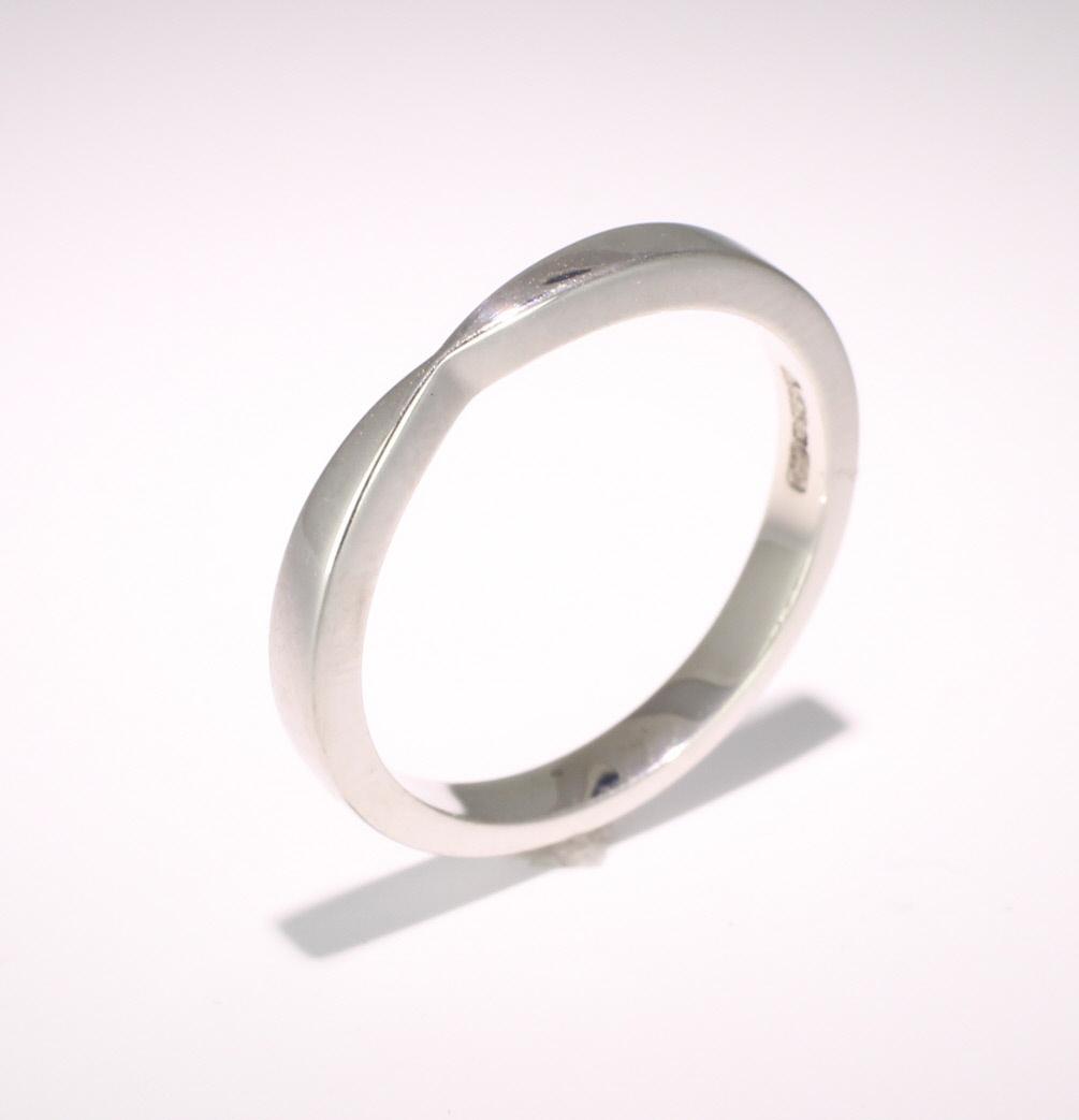 Shaped Wedding Ring Width 2.5mm (PalR1172) Palladium