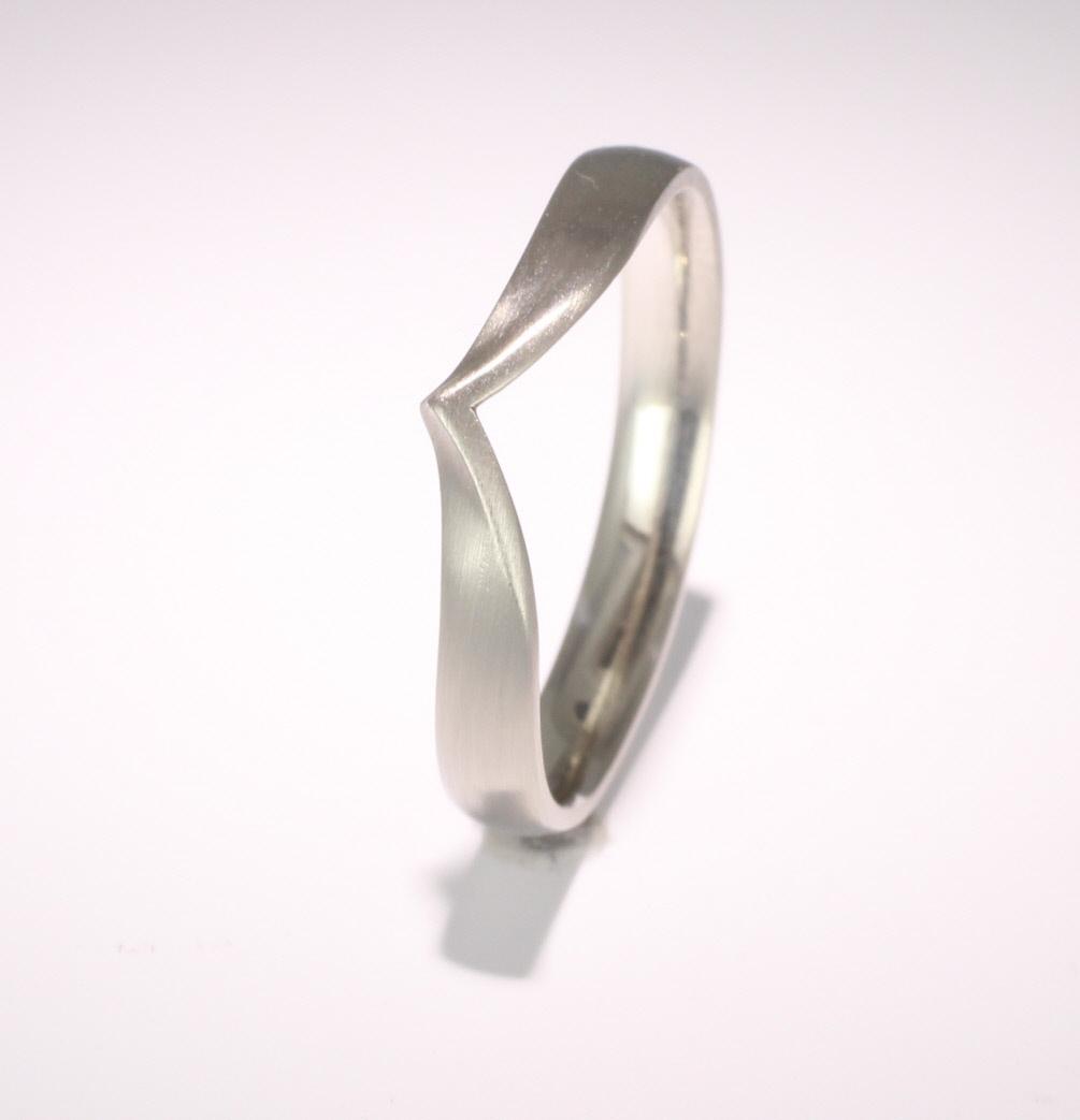 Shaped Wedding Ring Width 3mm (PalR1175) Palladium