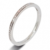 9ct White 0.15ct Brilliant HSI Diamond Wedding / Half Eternity Ring - 1.5mm Band