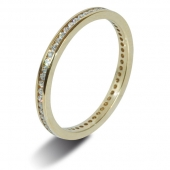 18ct Yellow Gold 0.15ct Brilliant HSI Diamond Eternity  - 2.0mm Band - Fast Delivery