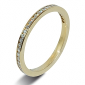 18ct Yellow Gold 0.25ct Brilliant HSI Diamond Eternity Ring -1.8mm Band - Fast Delivery