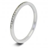9ct White 0.25ct Brilliant HSI Diamond Wedding / Half Eternity Ring - 1.8mm Band