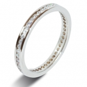 9ct White Gold 0.50ct Brilliant HSI Diamond Full Eternity Ring -1.8mm Band - Fast Delivery