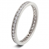 9ct White Gold 0.60ct Brilliant HSI Diamond Full Eternity - 2.1mm Band - Fast Delivery