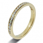 18ct Yellow Gold 0.30ct Brilliant HSI Diamond Wedding / Half Eternity  - 2.5mm Band