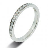 9ct White Gold 0.38ct Brilliant HSI Diamond Half Eternity Ring - 2.5mm Band - Fast Delivery