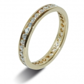 18ct Yellow Gold 0.40ct Brilliant HSI Diamond Eternity - 3.0mm Band - Fast Delivery