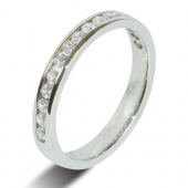 9ct White 0.38ct Brilliant HSI Diamond Wedding / Half Eternity Ring - 3.0mm Band