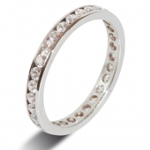 9ct White Gold 1.0ct Brilliant HSI Diamond Full Eternity -2.8mm Band - Fast Delivery