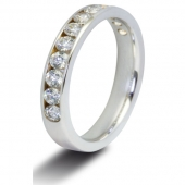 9ct White Gold 0.75ct Brilliant HSI Diamond Half Eternity - 3.8mm Band - Fast Delivery