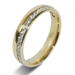 18ct Yellow Gold Half Eternity Diamond  Ring