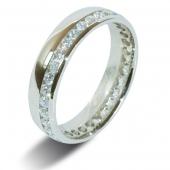 9ct White Gold 0.75ct Brilliant HSI Diamond Full Eternity / Wedding Ring -5.0mm Band