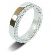 9ct White Gold 1.0ct Brilliant HSI Diamond Full Eternity / Wedding Ring - 5.0mm Band