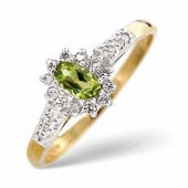 9ct Yellow Gold 0.14 Diamond and Peridot Ring