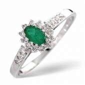 9ct White Gold 0.14 Diamond and Emerald Ring