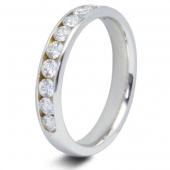 9ct White 0.75ct Brilliant HSI Diamond Ten Stone Eternity Ring - 3.8mm Band