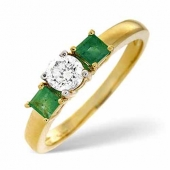 18ct Yellow Gold 0.33 Carat Diamond and Emerald Ring