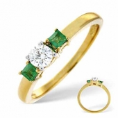 18ct Yellow Gold 0.25 Carat Diamond and Emerald Ring