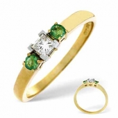 18ct Yellow Gold 0.15 Carat Diamond and Emerald Ring