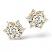 18ct Yellow Gold Diamond Cluster Earrings 1.0 Carat