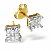 18ct Yellow Gold Diamond Cluster Earrings 0.25 Carat