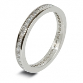 9ct White Gold 0.60ct Princess HSI Diamond Full Eternity Ring -2mm Band - Fast Delivery