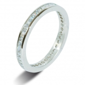 9ct White Gold 1.0ct Princess HSI Diamond Full Eternity Ring -2.5mm Band - Fast Delivery