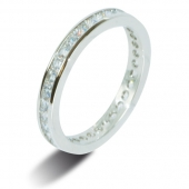 9ct White Gold 1.25ct Princess HSI Diamond Full Eternity Ring -2.7mm Band - Fast Delivery