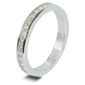 9ct White 0.60ct Brilliant HSI Princess Diamond Eternity Ring - 2.7mm Band - Fast Delivery