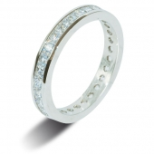 9ct White Gold 2.0ct Princess HSI Diamond Full Eternity Ring  3mm Band - Fast Delivery