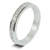 9ct White 1.0ct Princess HSI Diamond Wedding / Half Eternity Ring - 3mm Band