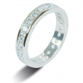 9ct White Gold 2.5ct Princess HSI Diamond Full Eternity Ring  3.7mm Band - Fast Delivery