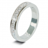 9ct White 1.25ct Princess HSI Diamond Wedding / Half Eternity Ring - 3.7mm Band