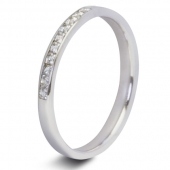 9ct White 0.15ct Princess HSI Diamond Ten Stone Eternity Ring - 2.1mm Band