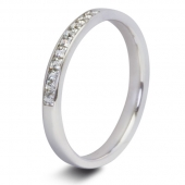 9ct White 0.25ct Princess HSI Diamond Ten Stone Eternity Ring - 2.3mm Band