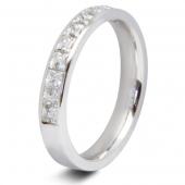 9ct White 0.75ct Princess HSI Diamond Ten Stone Eternity Ring - 3.4mm Band