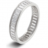 9ct White Gold 2.5ct Baguette HSI Diamond Full Eternity Ring  4mm Band - Fast Delivery