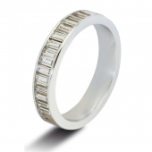 9ct White 1.25ct Baguette HSI Diamond Eternity Ring - 4mm Band