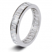 9ct White Gold 2.0ct Baguette HSI Diamond Full Eternity Ring  3.7mm Band - Fast Delivery