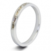 9ct White 0.50ct Baguette HSI Diamond Half Eternity Ring - 2.5mm Band