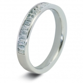 9ct White 0.75ct Baguette HSI Diamond Wedding / Half Eternity Ring - 3.3mm Band