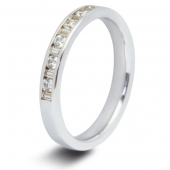 9ct White 0.50ct Baguette & Round HSI Diamond Half Eternity Ring - 3mm Band