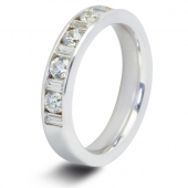 9ct White 1.0ct Baguette & Round HSI Diamond Half Eternity Ring - 4mm Band
