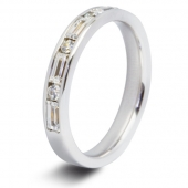 9ct White 0.75ct Baguette & Round HSI Diamond Half Eternity Ring - 3.4mm Band
