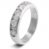 9ct White 0.75ct Baguette & Round HSI Diamond Half Eternity Ring - 4.5mm Band